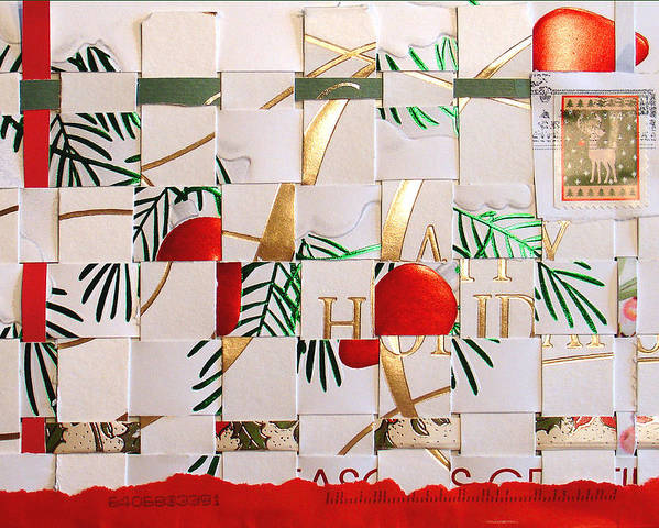Christmas Poster featuring the mixed media Christmas Card Abstract by Steve Karol