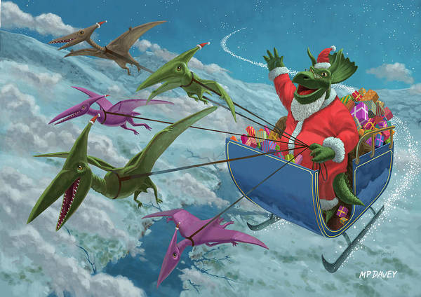 Christmas Poster featuring the painting Christmas Dinosaur Santa Ride by Martin Davey
