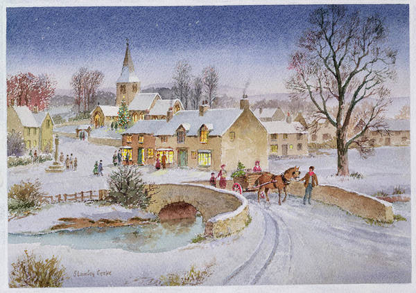 Rural; Snow; Winter; Horse And Cart; Tree; Evening; Bridge; Cross; Christmas Poster featuring the painting Christmas Eve In The Village by Stanley Cooke