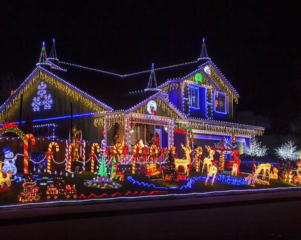 Christmas House Poster featuring the photograph Christmas House by Garry Gay