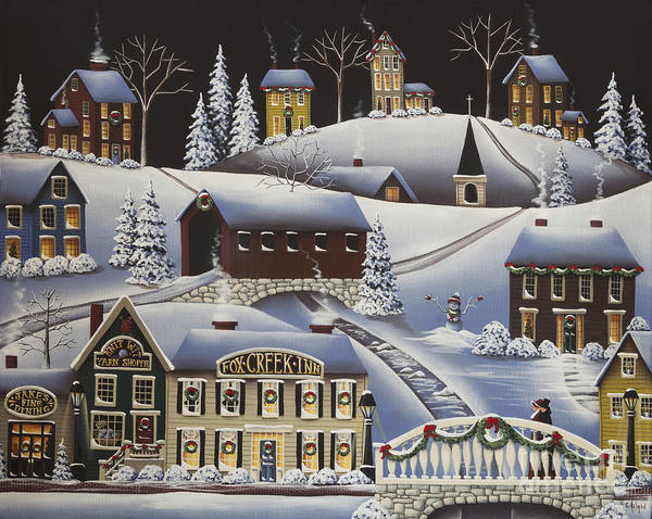 Art Poster featuring the painting Christmas In Fox Creek Village by Catherine Holman