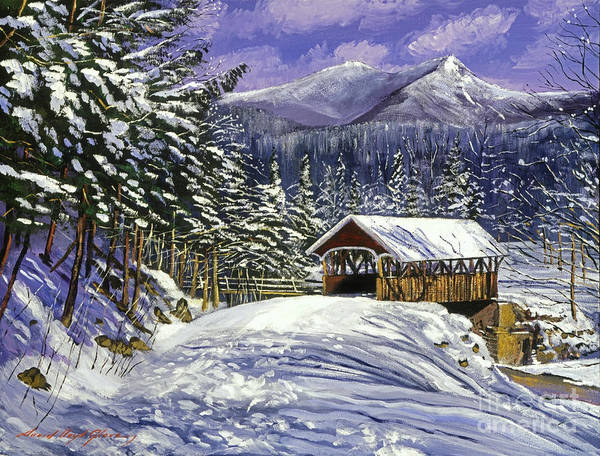 Landscape Poster featuring the painting Christmas In New England by David Lloyd Glover