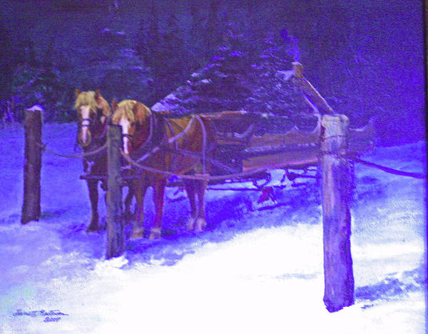 Greeting Card Poster featuring the painting Christmas Sleigh Ride - Anticipation by Harriett Masterson