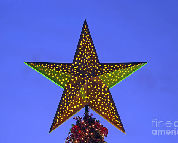 Christmas Poster featuring the photograph Christmas Star During Dusk Time by George Atsametakis