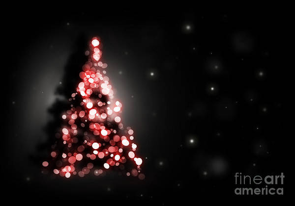 Christmas Tree Backgrounds.Christmas Tree Shining On Black Background Poster