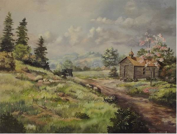 Landscape Poster featuring the painting Church In The Ozarks by Wanda Dansereau