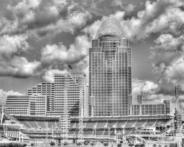 Cincinnati Poster featuring the photograph Cincinnati Ballpark Clouds Bw by Mel Steinhauer