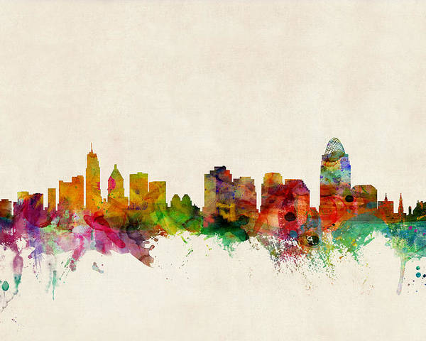 Watercolour Poster featuring the digital art Cincinnati Ohio Skyline by Michael Tompsett