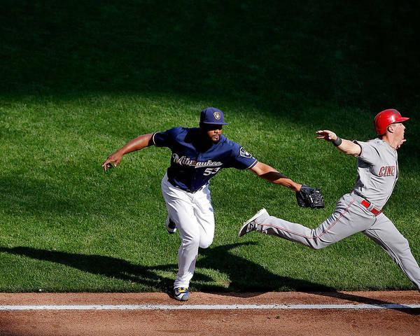 American League Baseball Poster featuring the photograph Cincinnati Reds V Milwaukee Brewers by Jon Durr