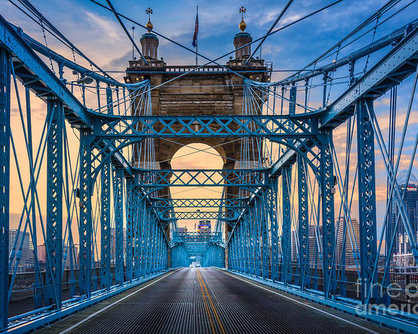 America Poster featuring the photograph Cincinnati Suspension Bridge by Inge Johnsson