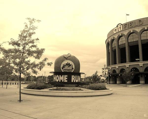 Shea Stadium Poster featuring the photograph Citi Field In Sepia by Rob Hans