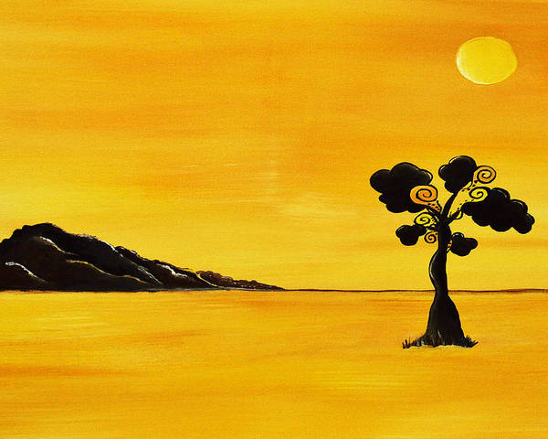 Acrylic Painting Poster featuring the painting Citrus Sunset by Sherry Allen