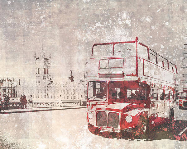 British Poster featuring the photograph City-art London Red Buses II by Melanie Viola