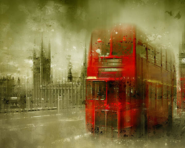 British Poster featuring the photograph City-art London Red Buses by Melanie Viola