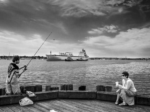 Seascape Poster featuring the photograph City Fishing by Bob Orsillo