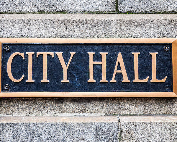 Chicago Poster featuring the photograph City Hall Municipal Sign In Chicago by Paul Velgos
