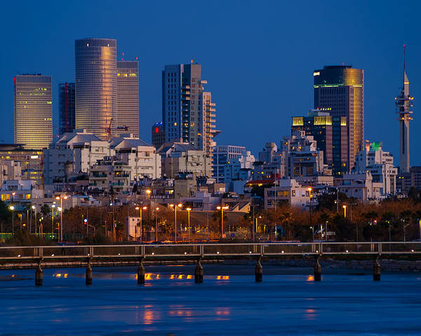 Kaballah Poster featuring the photograph city lights and blue hour at Tel Aviv by Ron Shoshani
