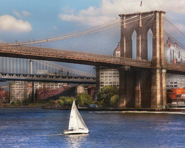 Savad Poster featuring the photograph City - Ny - Sailing Under The Brooklyn Bridge by Mike Savad