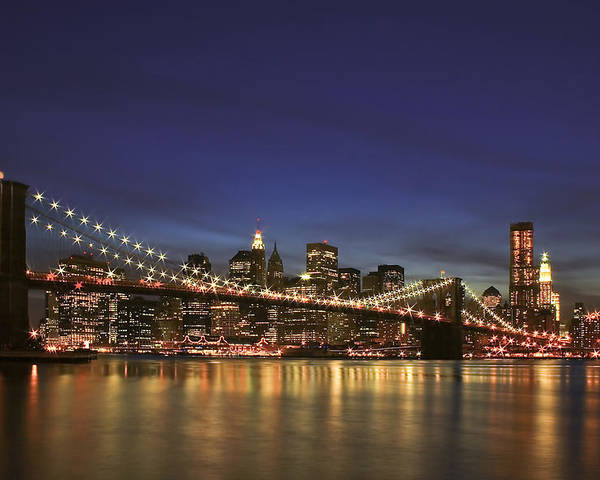 Bridge Poster featuring the photograph City Of Lights by Evelina Kremsdorf