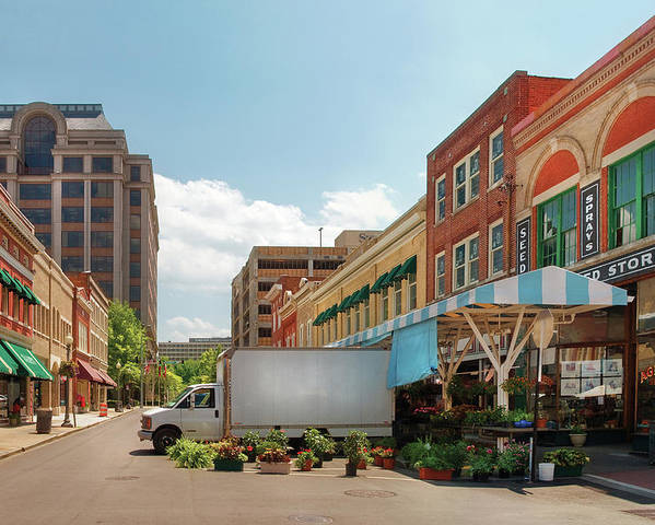 Savad Poster featuring the photograph City - Roanoke Va - The City Market by Mike Savad