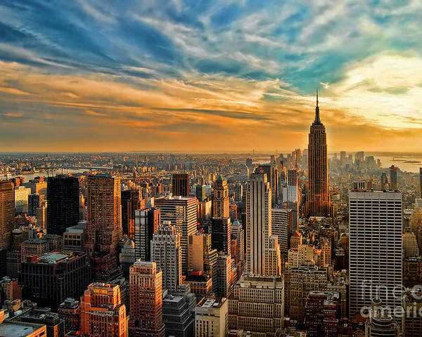 New York City Poster featuring the photograph City Sunset New York City Usa by Sabine Jacobs