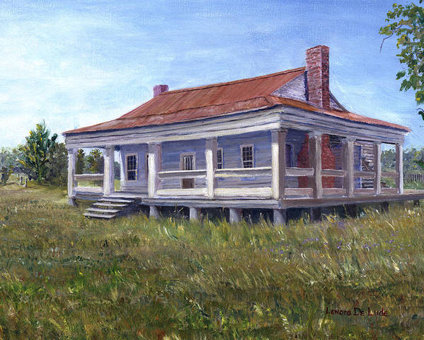 Civil War Poster featuring the painting Civil War House Mansfield Louisiana by Lenora De Lude
