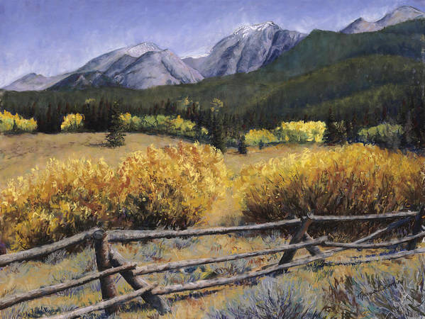 Autumn Poster featuring the painting Clark Peak by Mary Giacomini