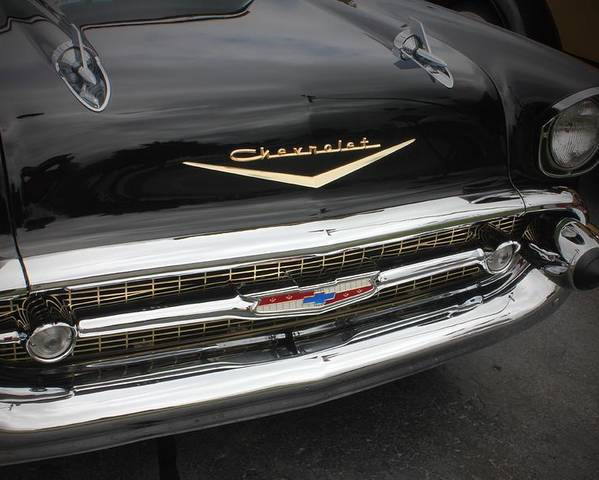 Car Poster featuring the photograph Classic Black Chevy by Brett Beaver