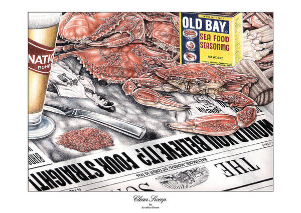 Baltimore Poster featuring the drawing Clean Sweep by JWB Art Unlimited