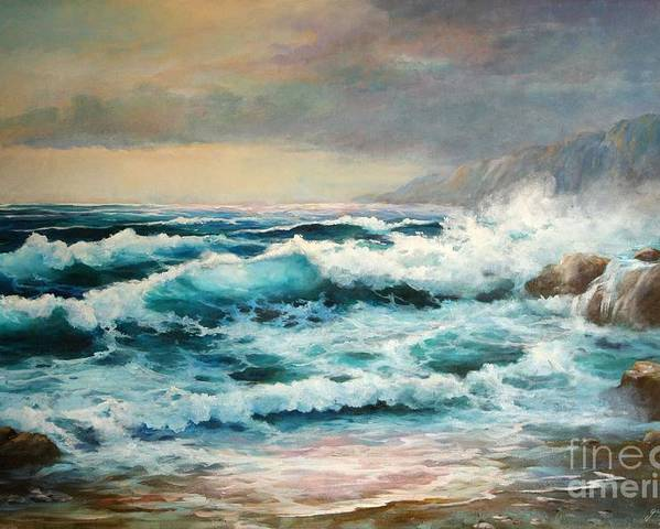 Seascape Poster featuring the painting Clear Aqua Waters by Gail Salitui