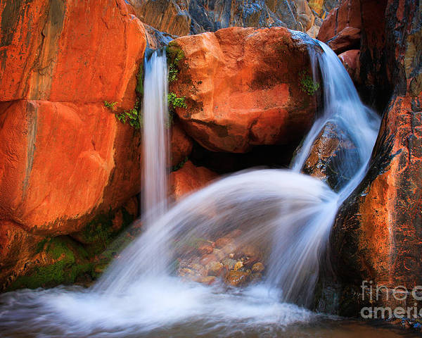 America Poster featuring the photograph Clear Creek Falls by Inge Johnsson