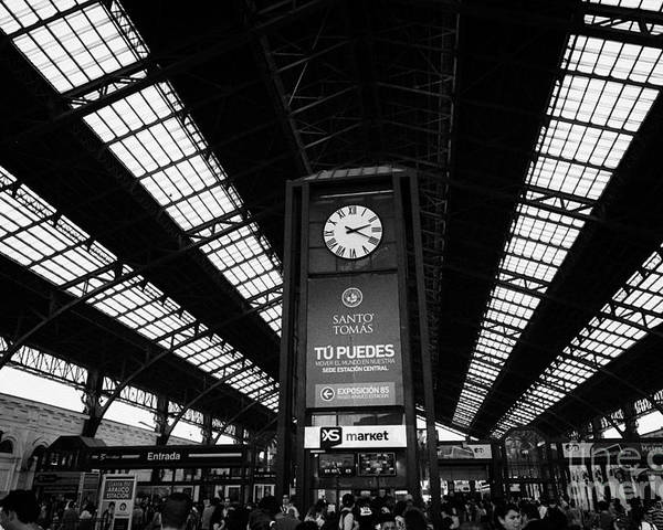 Santiago Poster featuring the photograph clock in Santiago central railway station Chile by Joe Fox
