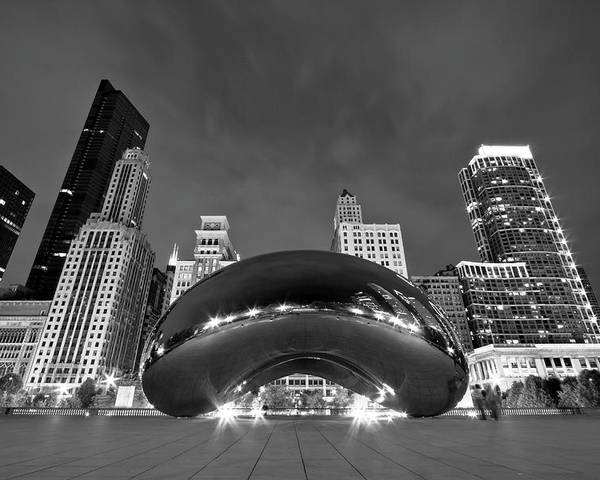 3scape Poster featuring the photograph Cloud Gate And Skyline by Adam Romanowicz