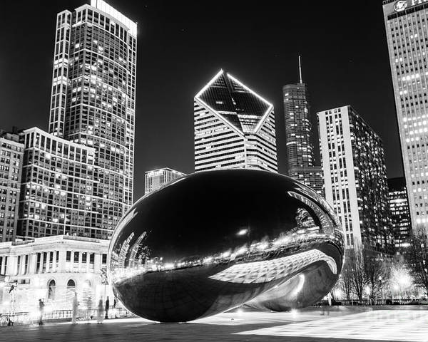 2012 Poster featuring the photograph Cloud Gate Chicago Bean Black And White Picture by Paul Velgos