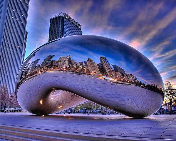 Chicago Poster featuring the photograph Cloud Gate by Jeff Lewis
