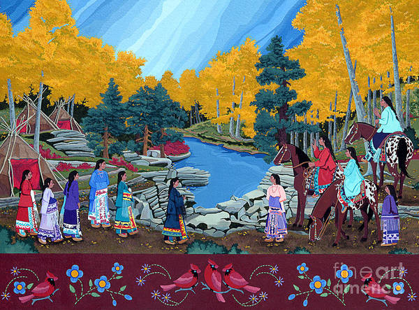 America Poster featuring the painting Cloud Women At Thunderbird Mountain by Chholing Taha