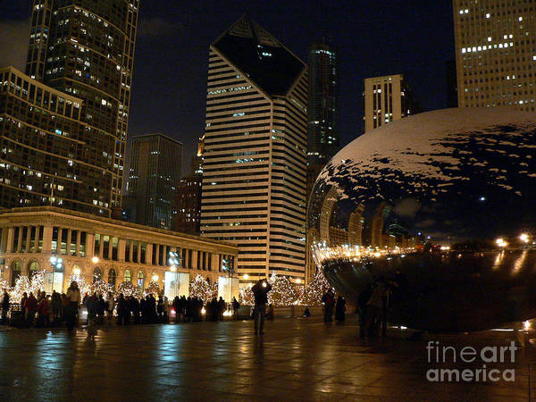 Cloudgate Poster featuring the photograph Cloudgate In Snow by David Bearden