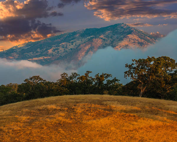 Landscape Poster featuring the photograph Clouds Fog And Mt Diablo by Marc Crumpler
