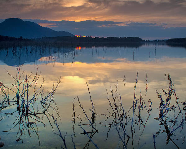 Sunset Poster featuring the photograph Clouds On The Pink Water by Guido Montanes Castillo
