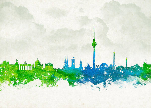Architecture Poster featuring the digital art Clouds Over Berlin Germany by Aged Pixel