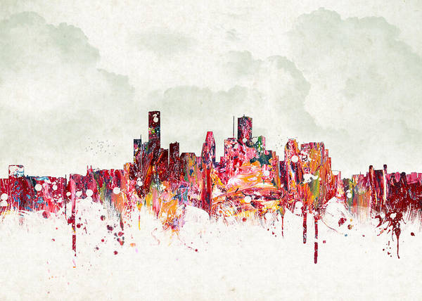 Architecture Poster featuring the digital art Clouds Over Houston Texas Usa by Aged Pixel