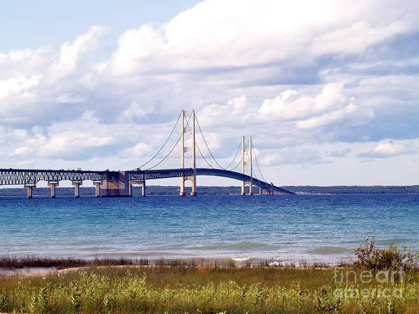 Bridge Poster featuring the photograph Clouds Over Mackinaw by Melissa McDole