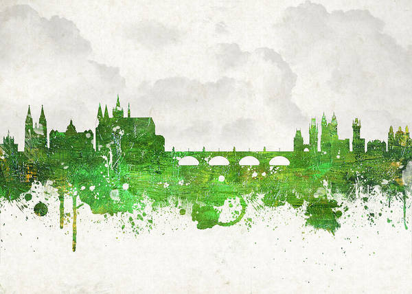Architecture Poster featuring the digital art Clouds Over Prague Czech Republic by Aged Pixel
