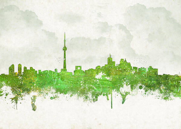 Architecture Poster featuring the digital art Clouds Over Toronto Canada by Aged Pixel