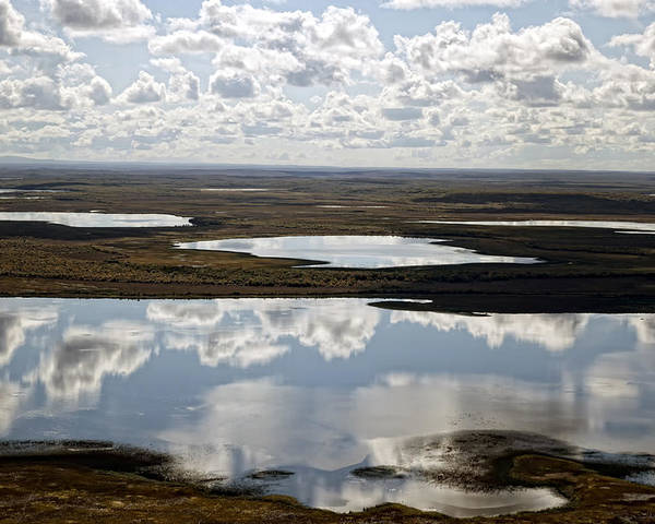 Clouds Poster featuring the photograph Clouds Reflected In Aleutian Lakes by Michael Riley