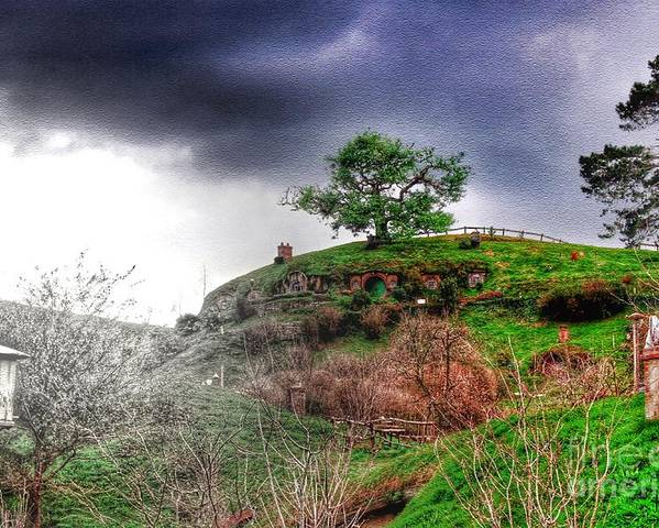 Hobbiton Poster featuring the photograph Cloudy Hobbiton by HELGE Art Gallery