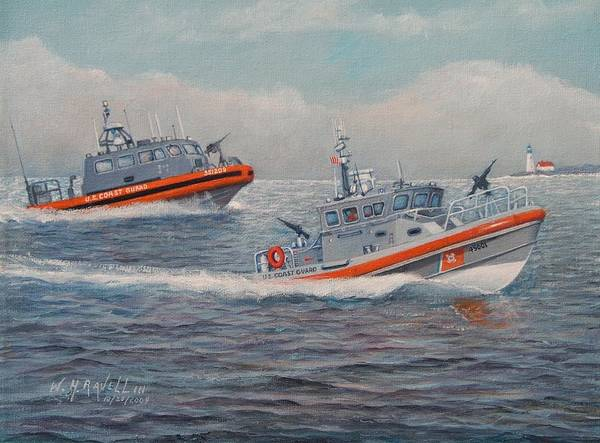 Boats Poster featuring the painting Coast Guard LRI and RB-M by William Ravell