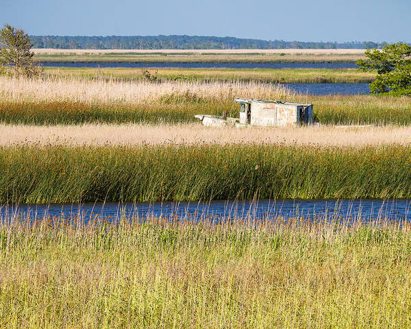 Coastal Landscape Poster featuring the photograph Coastal Marshlands With Old Fishing Boat by Bill Swindaman