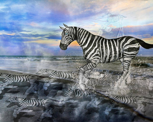 Zebra Poster featuring the mixed media Coastal Stripes I by Betsy Knapp