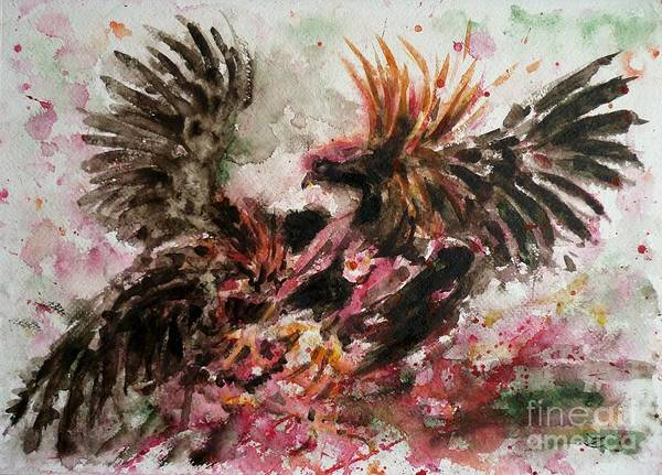 Fighting Roosters Poster featuring the painting Cockfight by Zaira Dzhaubaeva